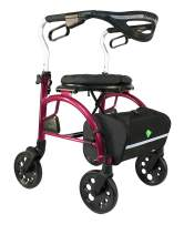 Evolution Xpresso Zero Lightweight Medical Walker Rollator with Seat, Large Wheels, Brakes, Backrest, Basket for Seniors Indoor Outdoor use (Shiraz Red, Tall)