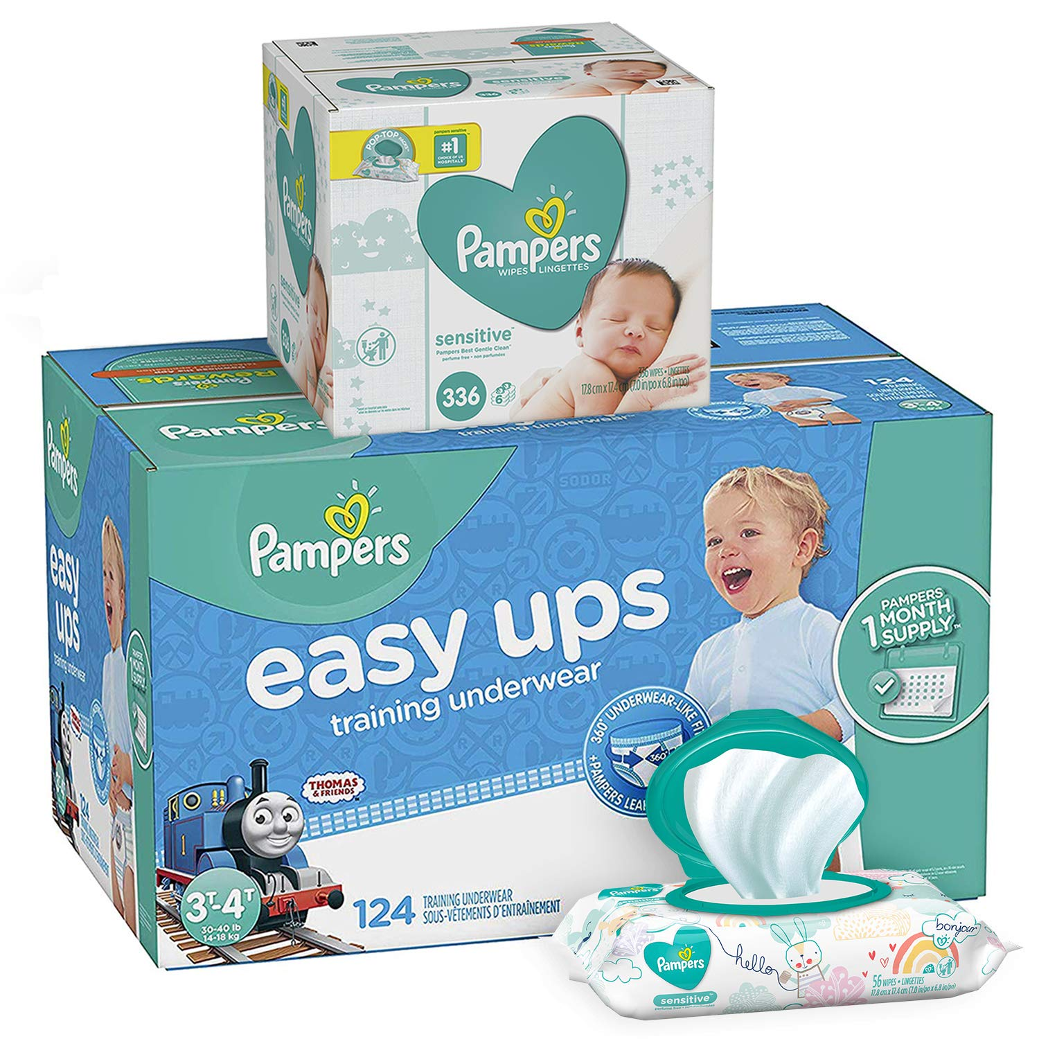 Pampers Easy Ups Pull On Disposable Potty Training Underwear for Boys, Size 5 (3T-4T), 124 Count, ONE MONTH SUPPLY with Baby Wipes Sensitive 6X Pop-Top Packs, 336 Count (Packaging May Vary)