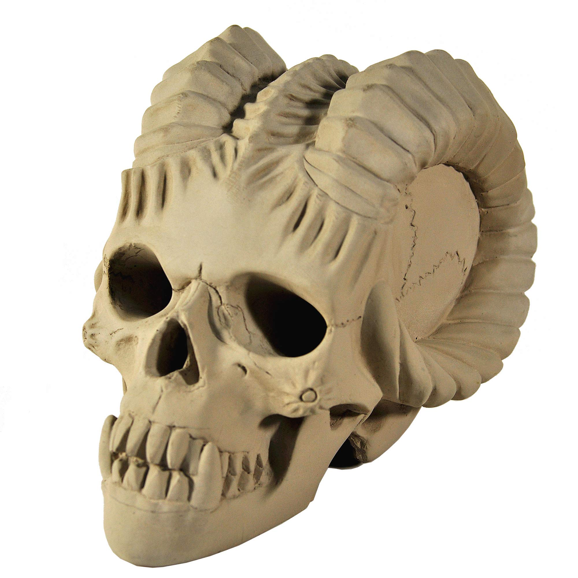 Myard Fireproof Demon Fire Pit Skull (Hollow, Flame from Eye Holes) Gas Log for NG, LP Wood Fireplace, Firepit, Campfire, Halloween Decor, BBQ (Qty 1, Demon Grey Skull)