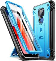 Poetic Revolution Series Case for Moto G Play (2021), Full-Body Rugged Dual-Layer Shockproof Protective Cover with Kickstand and Built-in-Screen Protector, Blue