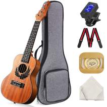 Concert Ukulele Manao 23 Inch Eagle Electric Guitar Headstock Ukelele Beginners Kit Professional Ukele Instrument Pack Bundle with Gig Bag Tuner Strap Aquila Strings Set