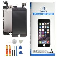 Sintron OEM LCD Screen Replacement - for iPhone 7 Black Fully Assembled Including Original Parts Front Camera, Proximity Sensor, Earpiece, LCD Shield + Tools & Guide