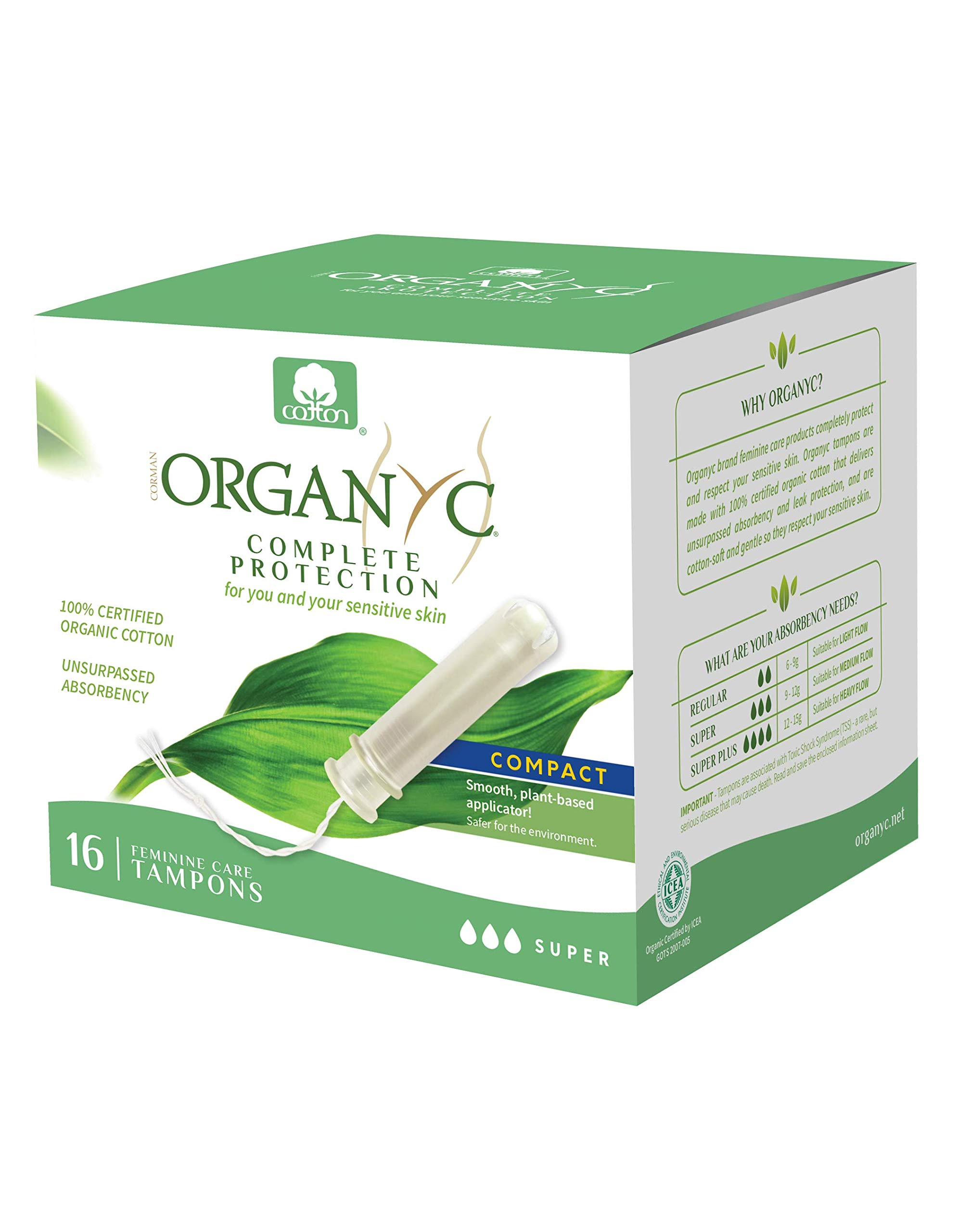 Organyc 100% Certified Organic Cotton Tampons – Plant-Based Eco-Applicator, Super Flow (16 Count)