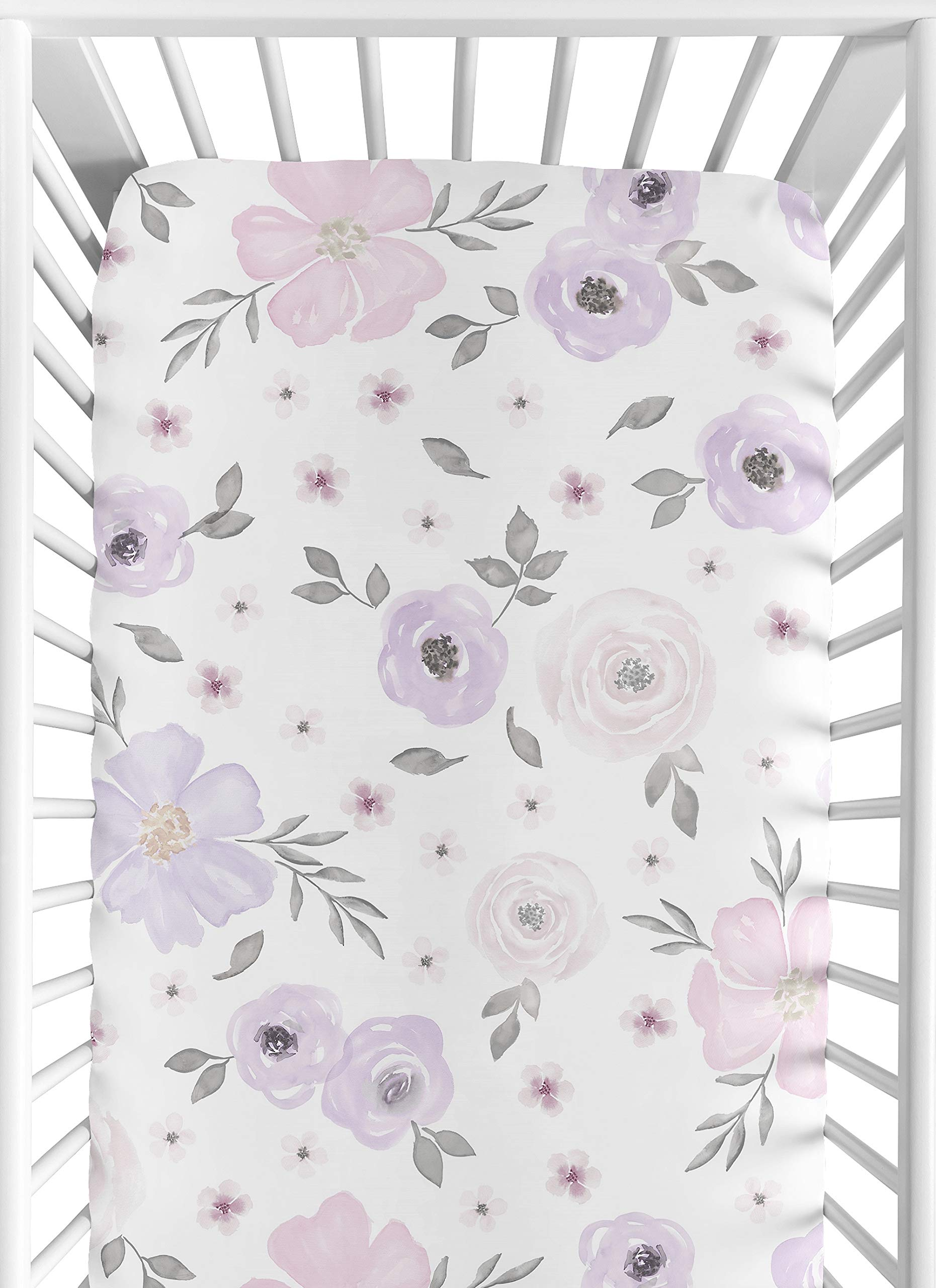 Sweet Jojo Designs Lavender Purple, Pink, Grey and White Baby or Toddler Fitted Crib Sheet for Watercolor Floral Collection - Rose Flower