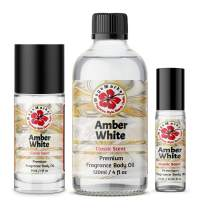 WagsMarket - White Amber Perfume Oil, Choose from 0.33 oz Roll On to 4 oz Glass Bottle (1oz Roll On) …