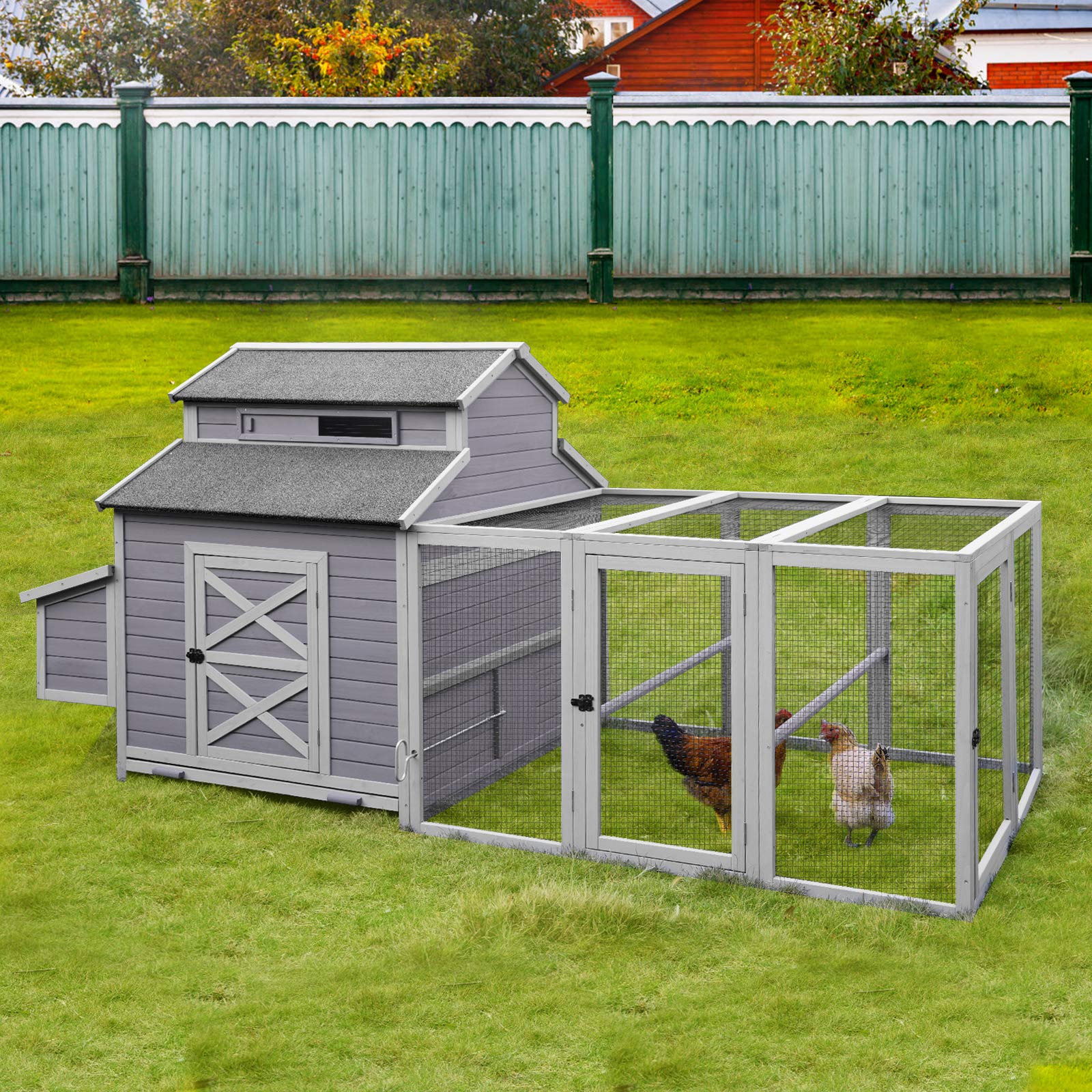 Chicken Coop for 8-10 Chickens with Nesting Box, Large Wooden Hen House Poultry Cage Large Outdoor Run