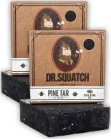 Dr. Squatch Pine Tar Soap 2-Pack Bundle - Mens Bar with Natural Woodsy Scent and Skin Exfoliating Scrub – Handmade with Pine, Coconut, Olive Organic Oils in USA (2 Bar Set)