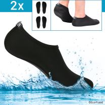 ECO-FUSED Water Socks/Shoes for Women - Black - 2 Pair - Extra Comfort - Protects Against Sand, Water, UV - Easy Fit Footwear for Swimming