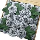 J-Rijzen Jing-Rise Artificial Flowers 50pcs Real Touch Silver Grey Fake Roses with Stem for Bride Wedding Bouquet Baby Shower Flowers Centerpieces Party Home Decorations(Silver Grey)