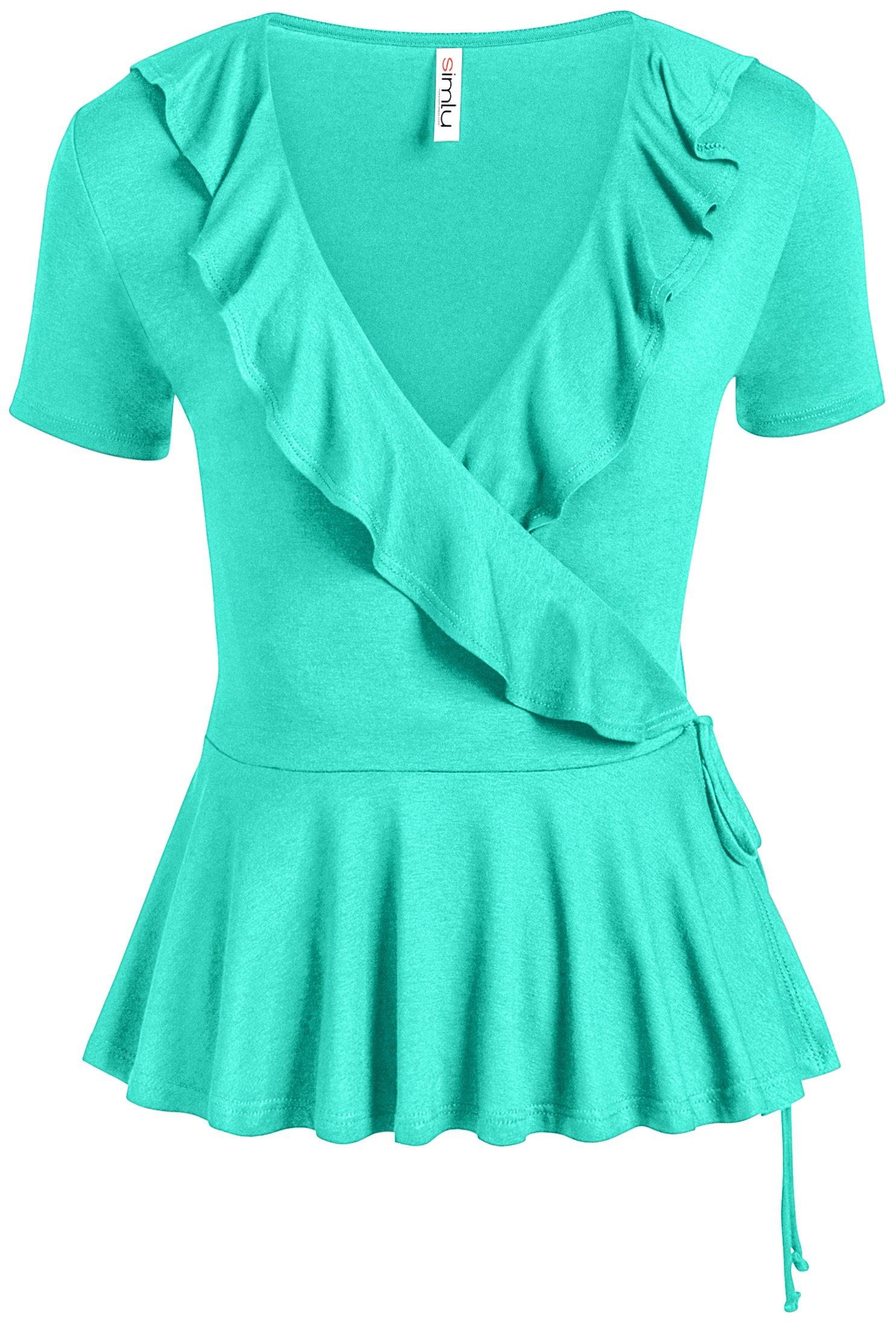 Mint Wrap Shirt Short Sleeve Deep V Neck Cross Top for Women (Size Small, Mint)