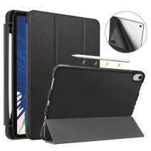 "Fintie Case with Built-in Pencil Holder for iPad Pro 11"" 2018 [Supports 2nd Gen Pencil Charging Mode] - SlimShell Lightweight Soft TPU Back Protective Stand Cover, Auto Wake/Sleep, Black"