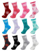 12 Pairs Assorted Super Soft Warm Microfiber Fuzzy Knobby Socks - Value Pack