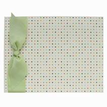 Tessera Baby Memory Book, Modern Gender-Neutral Baby Keepsake, Multi-Colored Small Dot with Celeray Ribbon