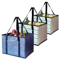 Reusable Shopping Box Grocery Bag,Shopping Tote Bag with Extra Long Handles,Eco-Friendly, Large, Durable, Foldable with Reinforced Sides and Bottoms- Set of 3 (Navy Blue+Beige)