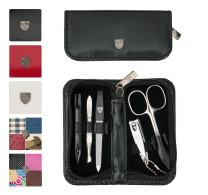 3 Swords Germany - brand quality 5 piece manicure pedicure grooming kit set for professional finger & toe nail care scissors clipper fashion leather case in gift box, Made in Solingen Germany (21200)