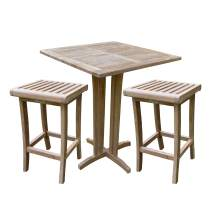 TITAN GREAT OUTDOORS Grade A Teak 35 in Square Table with 2 Armless Dining Chairs Indoor Outdoor