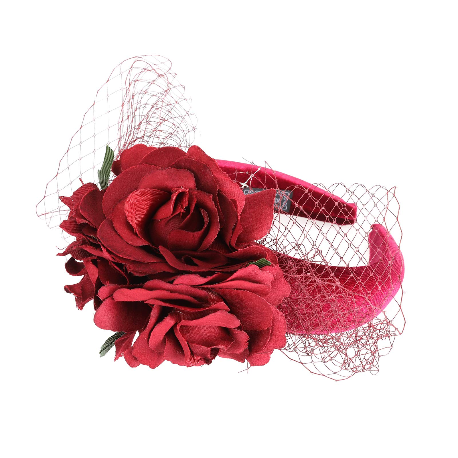 Fascinator Rose Flower Halloween Headband - Mysterious Day of the Dead Halloween Party Headband Hair Accessories for Women(Red-4)