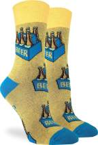 Good Luck Sock Women's Six Pack of Beer Socks - Yellow, Adult Shoe Size 5-9