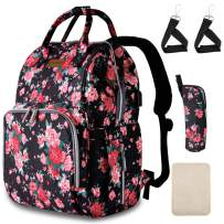 Diaper Bag Backpack Floral Baby Bag with USB Charging Port Stroller Straps Insulated Pocket and Changing Pad For Women/Girls/Mum/Toddler (Red Flower Pattern)