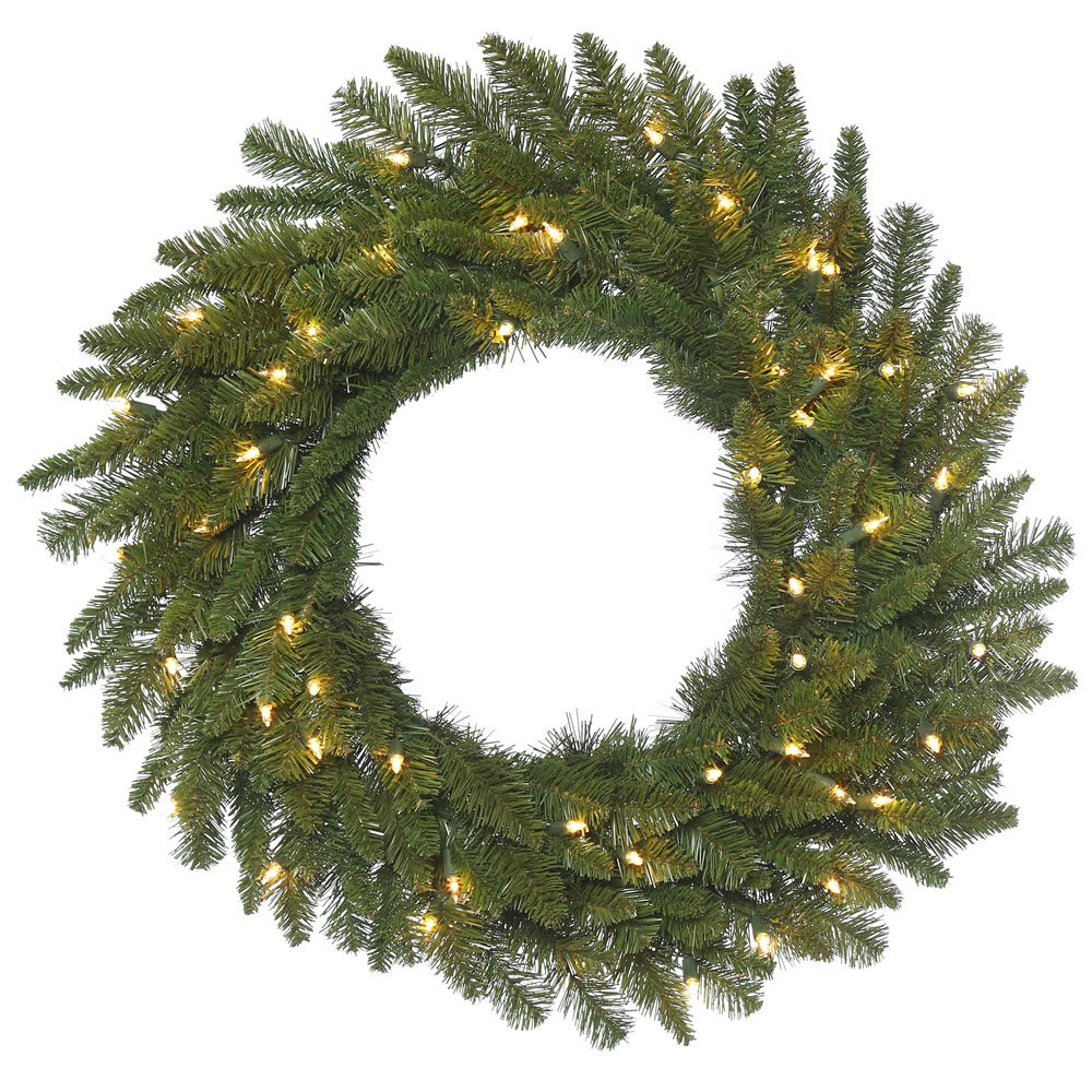 """Vickerman Spruce Wreath with 180 Green PVC Tips & 50 Dura-Lit Lights on Green Wire, 30"""", Clear/Durango"""