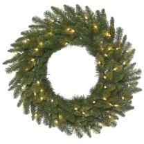 "Vickerman Spruce Wreath with 180 Green PVC Tips & 50 Dura-Lit Lights on Green Wire, 30"", Clear/Durango"