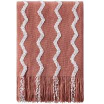 """Bourina Fluffy Chenille Knitted Fringe Throw Blanket Lightweight Soft Cozy for Bed Sofa Chair Throw Blankets, 50"""" x 60"""" (Carol Pink, 50""""x60"""")"""
