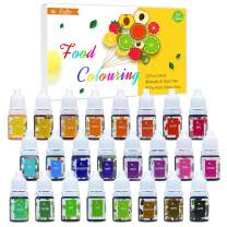 Food Coloring - 24 Colors Variety Liquid Cake Icing Coloring Kit for Baking, Fondant, Decorating and Cooking - Vibrant Food Color Dye for DIY Slime Making and Crafts - .25 fl. oz. Bottles