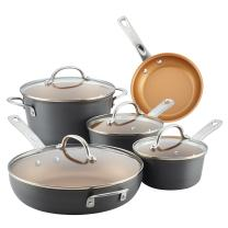 Ayesha Curry Home Collection Hard Anodized Nonstick Cookware Pots and Pans Set, 9 Piece, Charcoal Gray