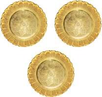 Shubhkart Nakshi Plate (Pack of 3), Decorative Handmade Brass Indian Plate for Pooja (Medium)