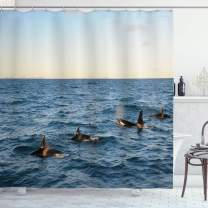"""Ambesonne Whale Shower Curtain, Real Photo Image of 4 Killer Whales Coming Out of The Seartwork Print, Cloth Fabric Bathroom Decor Set with Hooks, 75"""" Long, Black Blue"""