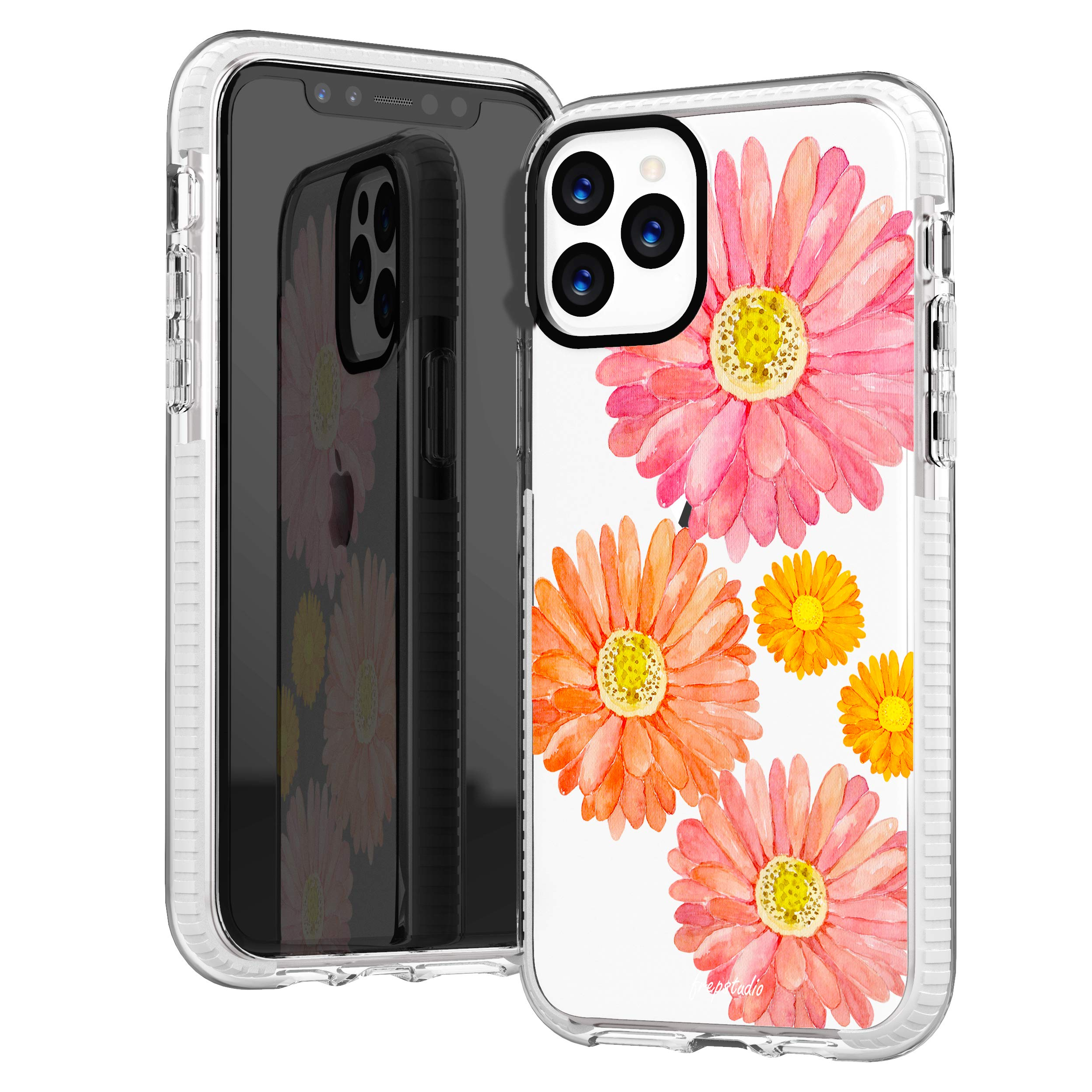 iPhone 11 Pro Max Clear Case,Women Girls Cute Trendy Hipster Summer Spring Floral Flowers Bloom Pink Orange Sunflowers Sassy Daisy Soft Protective Clear Design Case Compatible for iPhone 11 Pro Max