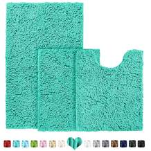 BYSURE Turquoise Bathroom Rug Sets 3 Pieces Non Slip Extra Absorbent Shaggy Chenille Bathroom Mats and Rugs Sets, Soft & Dry Bath Rug/Mat Sets for Bathroom Washable Carpets Set