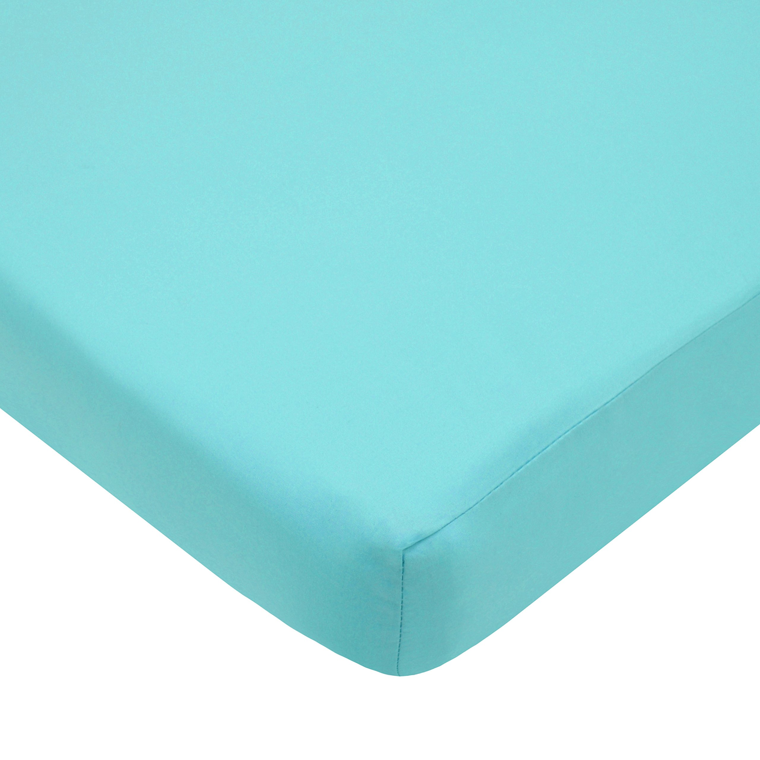 American Baby Company 100% Natural Cotton Percale Fitted Portable/Mini Crib Sheet, Aqua, Soft Breathable, for Boys and Girls