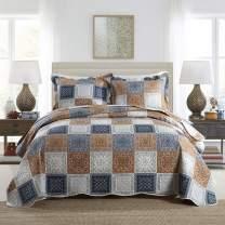 NEWLAKE Quilt Bedspread Sets-Color Block Pattern Reversible Coverlet Set,King Size