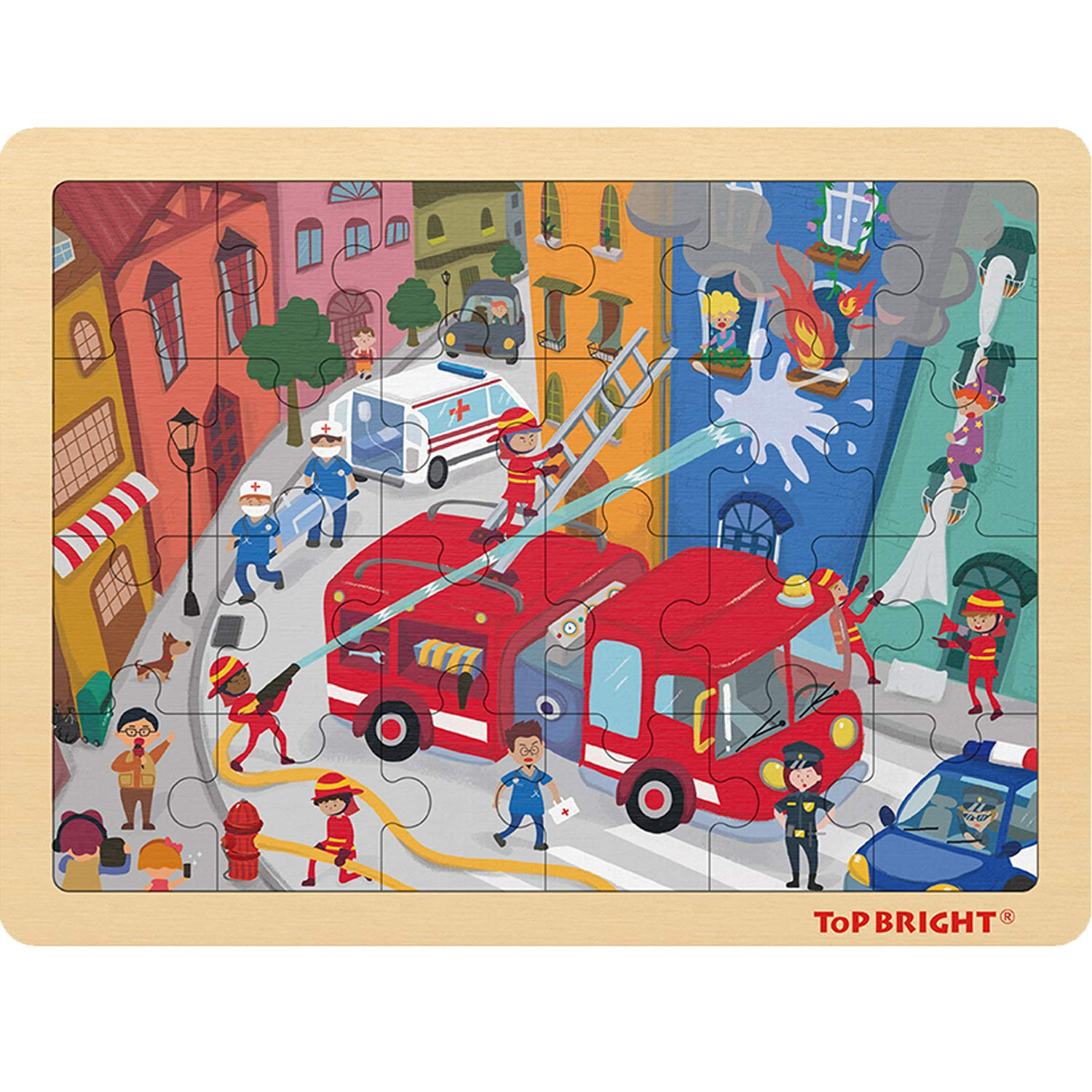 TOP Bright 24 Piece Puzzles for Kids Ages 3-5 - Fire Rescue Wooden Jigsaw Puzzle with Storage Tray