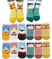 Baby Boys Girls Ultra Thick Warm Terry Socks, Toddler Kids Cute Animal Winter Cotton Christmas Holiday Socks Gifts