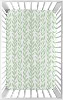 Sweet Jojo Designs Green and White Leaf Floral Girl Baby Nursery Fitted Mini Portable Crib Sheet for Mini Crib or Pack and Play ONLY - Boho Farmhouse Sunflower Collection