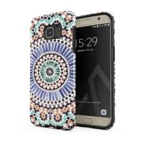 BURGA Phone Case Compatible with Samsung Galaxy S7 Edge - Pastel Illusion Moroccan Marrakesh Tile Pattern Colorful Mosaic Heavy Duty Shockproof Dual Layer Hard Shell + Silicone Protective Cover