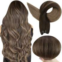 Full Shine Balayage Hair Weft Human Hair 22 Inch Long Straight Sew In Hair Extensions Color 2 Darkest Brown Fading To 8 Ash Brown Remy Hair Bundles Double Weft Hair Extensions