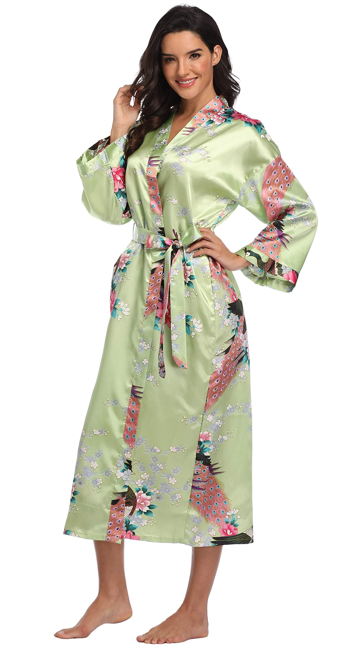 Mignon Cromwell Women's Long Floral Robe Bride Bridemaids Dressing Gown Silky