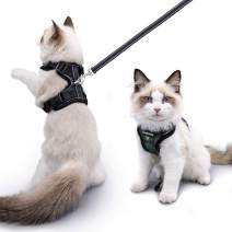 Luxroom Green Camouflage Cat Harness and Leash for Walking Adjustable, Cat Halter and Leash Escape Proof, Cat Leash and Harness Set Small Dogs Rabbits S