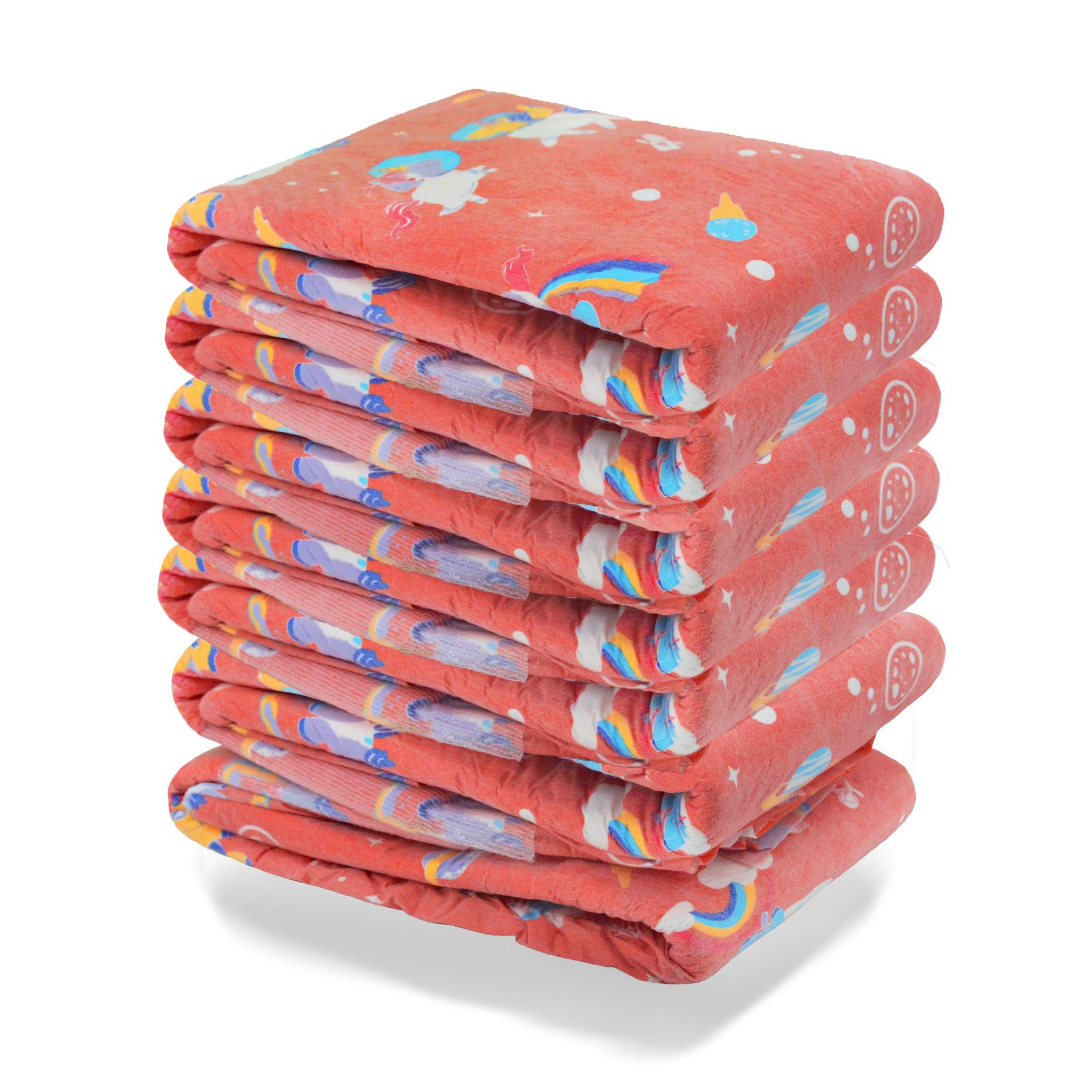 TEN@NIGHT Adult Baby Brief Diapers ABDL One time Incontinence Diaper 7 Pieces (Orange)