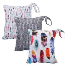 Cloth Diaper Wet Dry Bags Set Waterproof Reusable Dual Zipper for Baby Kids Gym Travel Laundry Swimsuit Towel 3pcs (WB02-Arrow-Feather)