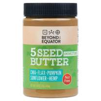 Beyond the Equator 5 Seed Butter Unsweetened- Peanut Free, Tree Nut Free, No Added Sugar, Sunflower Seed, Chia Seed, Flaxseed, Pumpkin Seed, Hemp Hearts, Low Carb, Keto, Non-GMO, 1 Pack, 16 Ounces