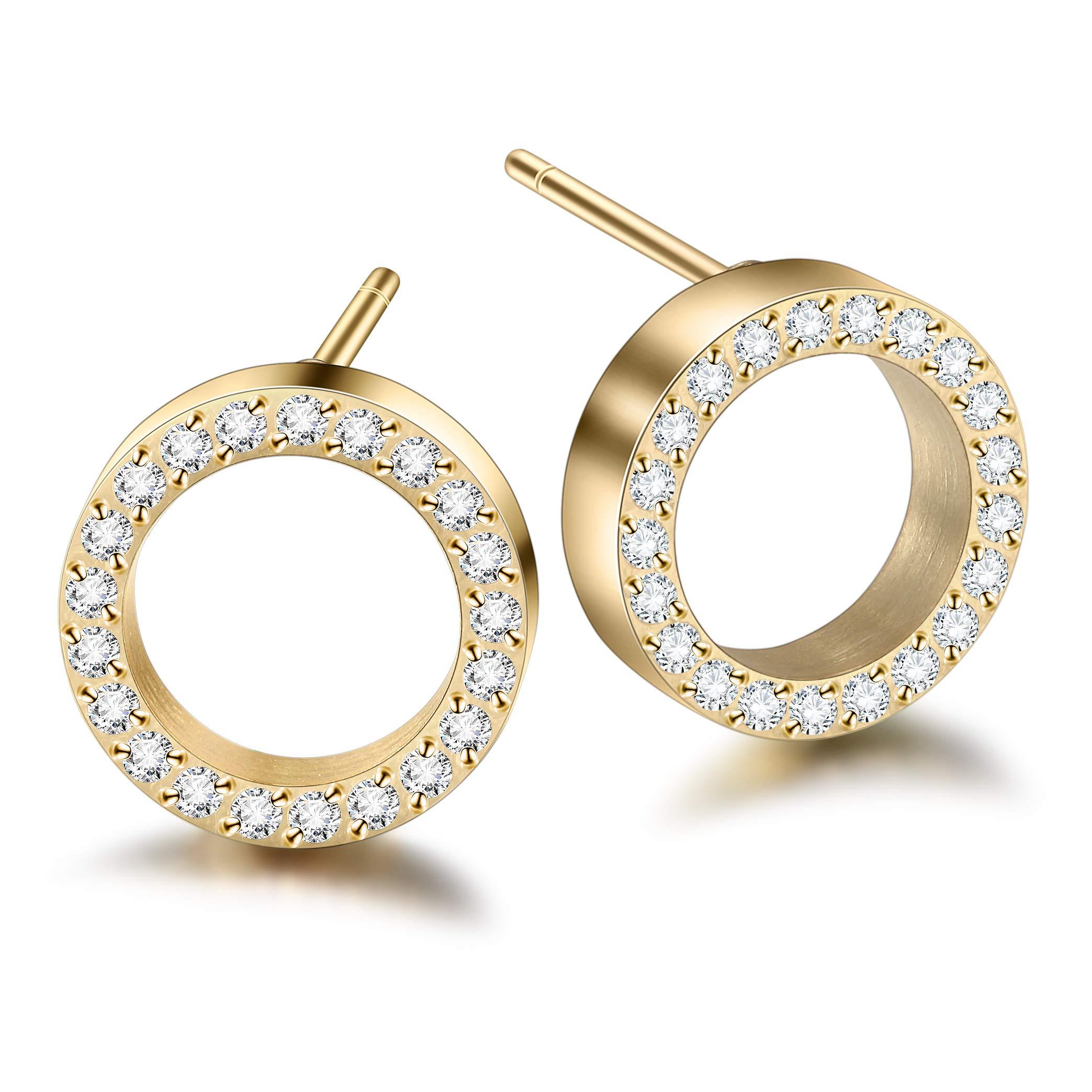 WISTIC Cubic Zirconia Earrings Stud Earrings Gold Plated for Women Men Girls Boys Gold Rose Gold