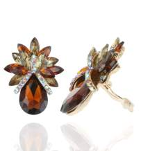 SP Sophia Collection Luxurious Tropical Inspired Crystal Embellished Teardrop Stud Clip On Earrings