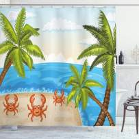 """Ambesonne Crabs Shower Curtain, Cartoon Style Illustration of The Palm Trees and Crabs on Beach Cloudy Sky Print, Cloth Fabric Bathroom Decor Set with Hooks, 70"""" Long, Beige Aqua"""