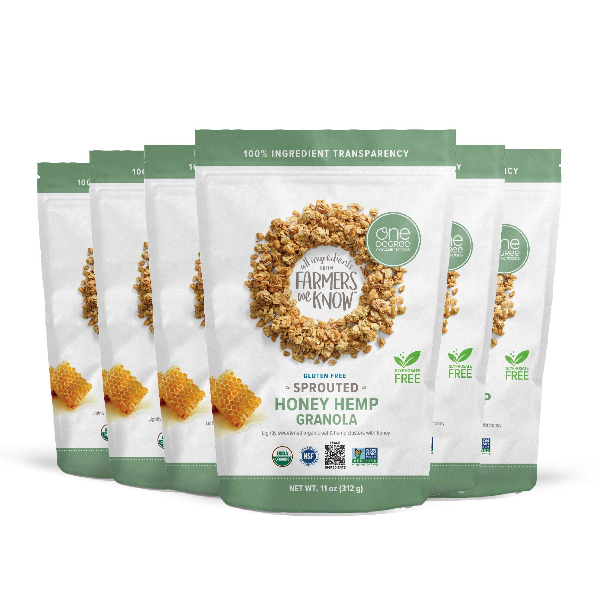 One Degree Organic Foods Sprouted Oat Honey Hemp Gluten Free Granola - USDA Organic (11 oz. - 6 pack)