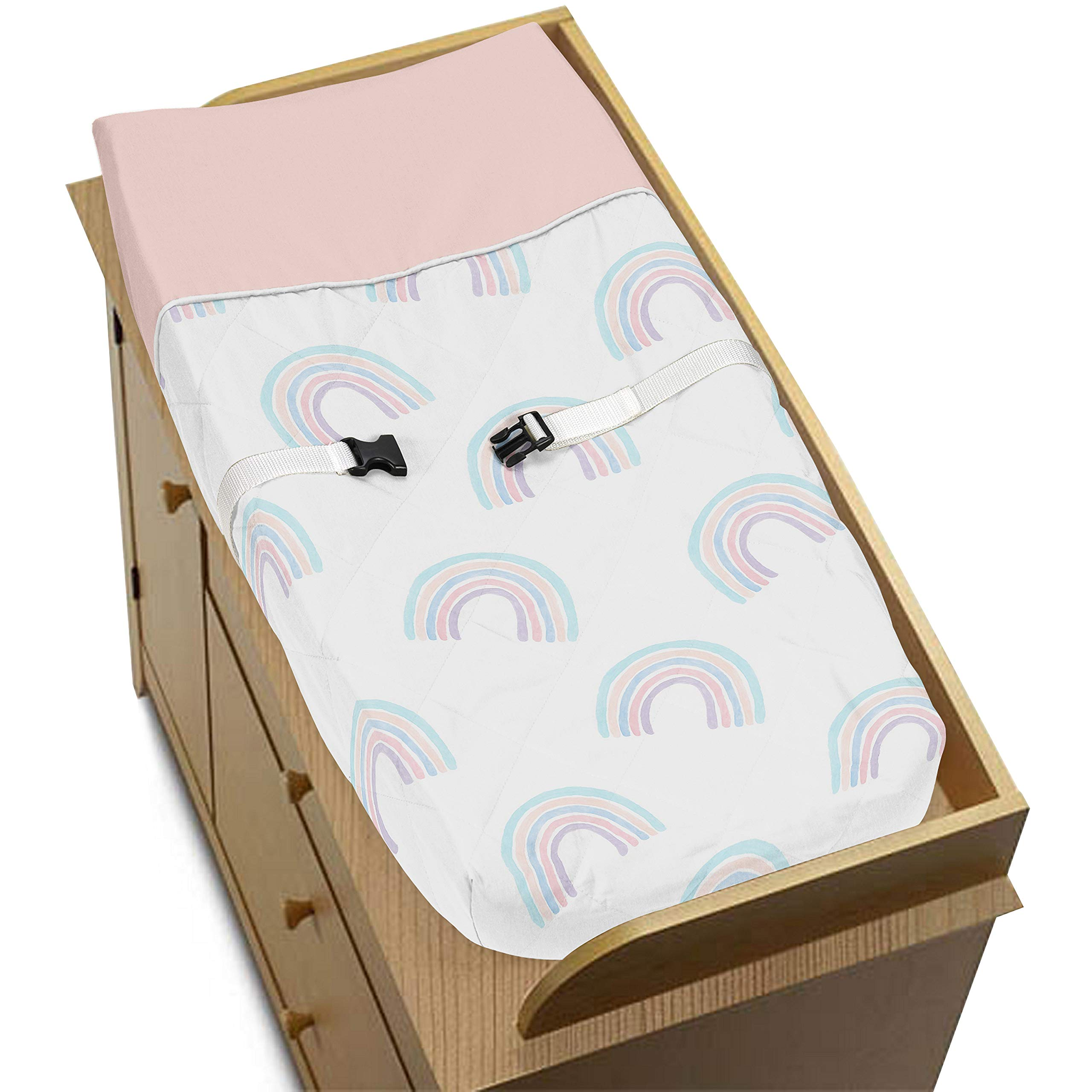 Sweet Jojo Designs Pastel Rainbow Girl Baby Nursery Changing Pad Cover - Blush Pink, Purple, Teal, Blue and White