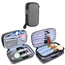 "Teamoy Travel Makeup Brush Bag(up to 8.5""), Professional Cosmetic Artist Organizer Case with Handle Strap for Makeup Brushes and Beauty Supplies-Small, Gray (No Accessories Included)"